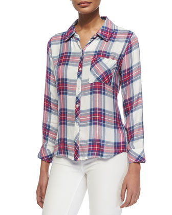 Hunter Plaid Shirt, White/Fuchsia