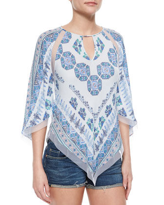 Tile-Print Woven Blouse, Light Chambray