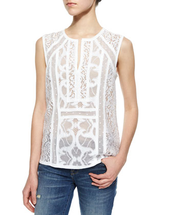 Camy Semisheer Mixed-Lace Top, White