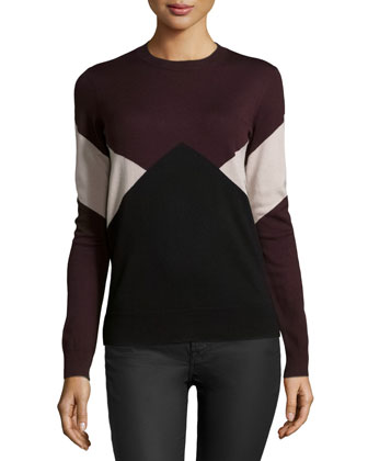 Long-Sleeve Merino Intarsia Pullover Sweater