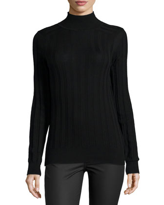 Striped Knit Mock Turtleneck Pullover, Black