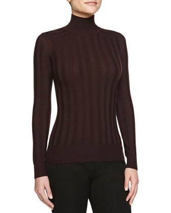 Striped Knit Mock-Neck Pullover, Eggplant