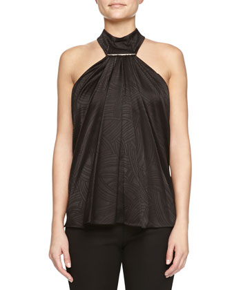 Swivel Jacquard Tie-Bar Halter Top
