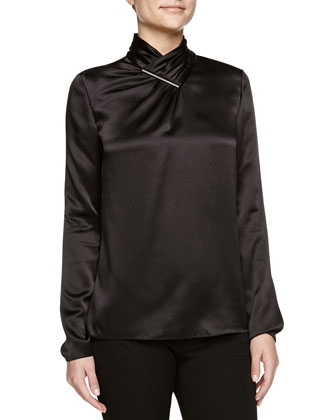 Long-Sleeve Hammered Silk Blouse, Black