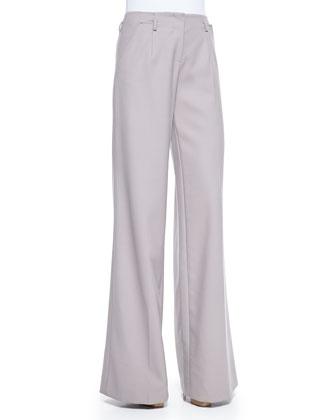 Wool Crepe Wide-Leg Trousers, Lilac