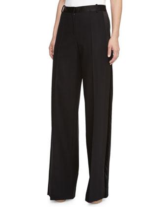 Wide-Leg Satin-Waist Trousers, Black