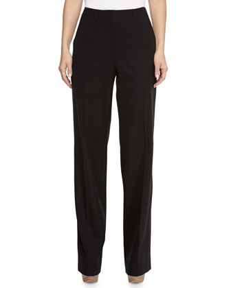 Bi-Stretch Wool Wide-Leg Pants, Black