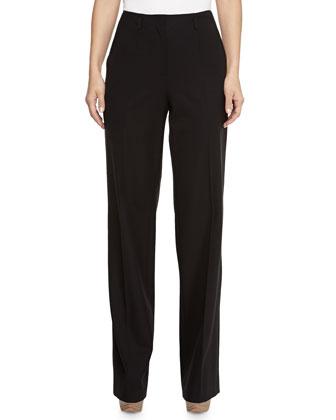Bi-Stretch Wool Wide-Leg Pants, Black
