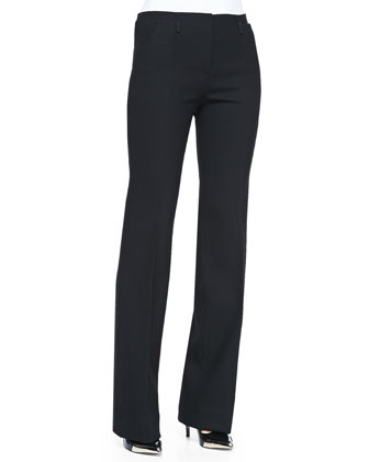 Bi-Stretch Wool Bootcut Pants, Black