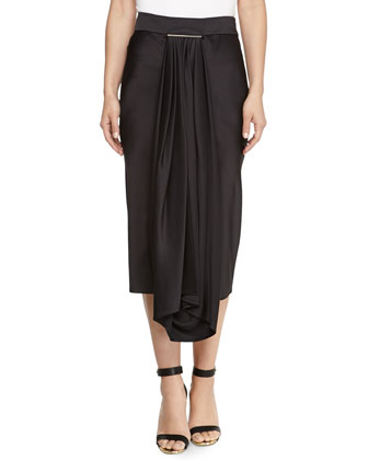 Satin Draped Overlay Tie-Bar Skirt