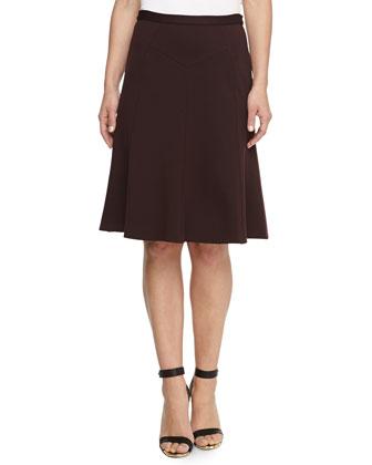 Ponte Jersey Flounce Skirt, Eggplant