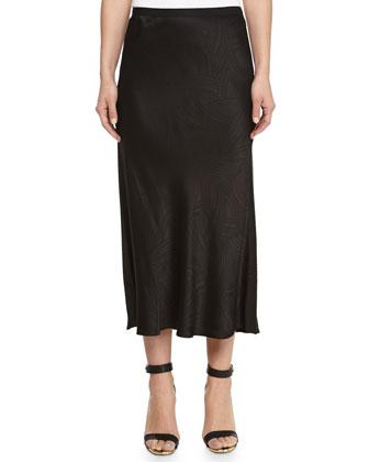 Swivel Jacquard Midi Skirt, Black