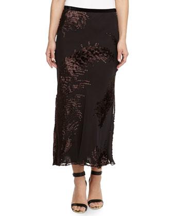 Chiffon Velvet Jacquard Midi Skirt