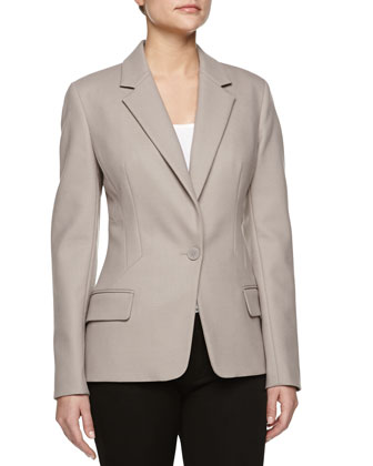 Wool Crepe One-Button Jacket