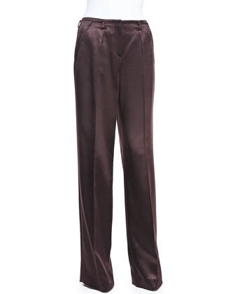 Satin Wide-Leg Trousers, Eggplant