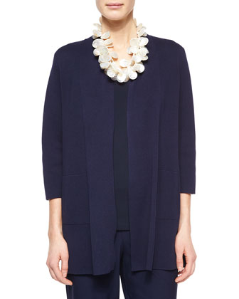 3/4-Sleeve Silk-Cotton Interlock Cardigan, Midnight, Women's