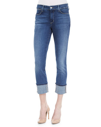 Lorena Slim-Fit Boyfriend Capris, Dark Wash