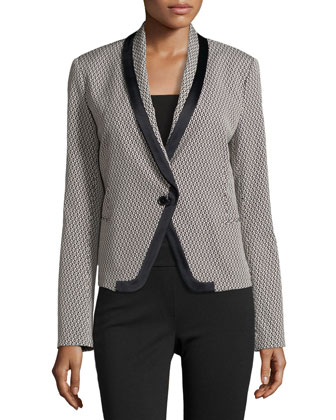 Long-Sleeve Jacquard Fitted Blazer