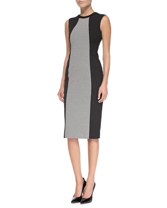 Sleeveless Sheath Dress with Woven Panel