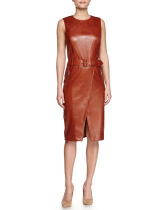 Textured Leather Sheath Dress
