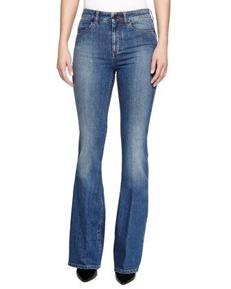 Straight-Leg High-Rise Faded Jeans