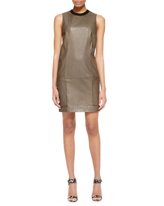 Sleeveless Leather Tunic Dress