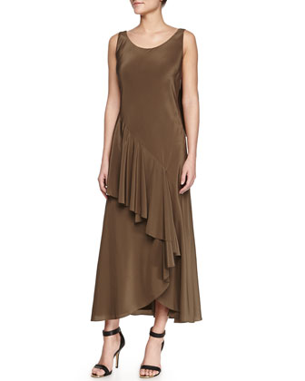 Silk Bias Cascade Slip Dress