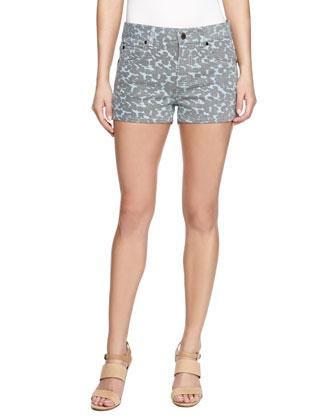 Printed Denim Shorts, Blue