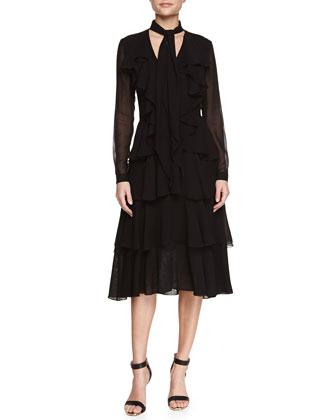 Long-Sleeve Silk Chiffon Cascade Dress