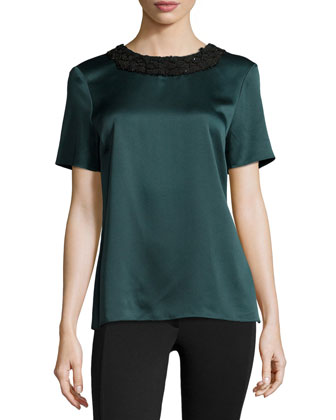Beaded-Neck Short-Sleeve Satin Tee