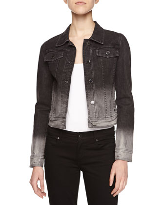 Long-Sleeve Denim Jacket, Gray