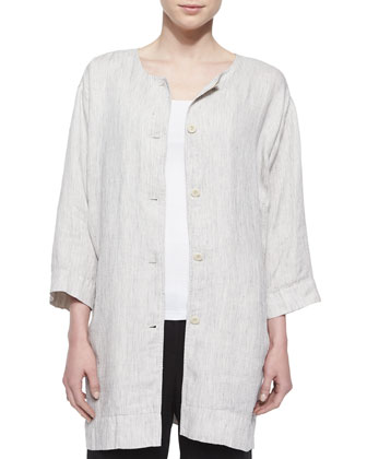 Button-Front Striped Slub Long Jacket, Women's