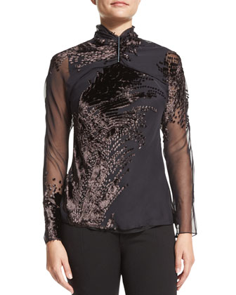 Velvet Blouse with Golden Bar
