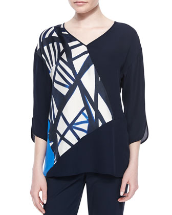Lourdes 3/4-Sleeve Blouse & Cropped Fundamental Bi-Stretch Pants