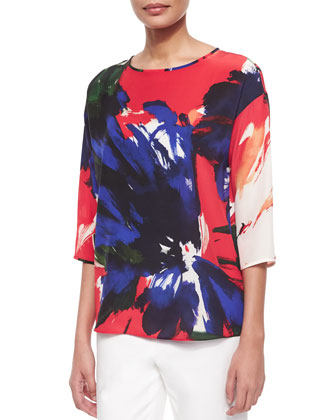 Keline 3/4-Sleeve Printed Silk Blouse, Tango Red