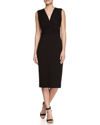 Sleeveless Ponte Jersey Twist Sheath Dress with Belt, Black