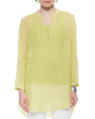 Long-Sleeve Split-Neck Tunic, Women's