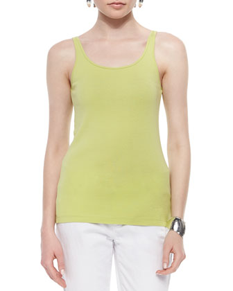 Long-Sleeve Mesh Box Top, Organic Cotton Slim Tank & Shibori Crossing Silk ...