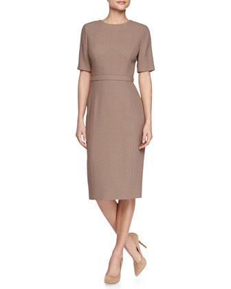 Short-Sleeve Wool-Blend Crepe Sheath Dress