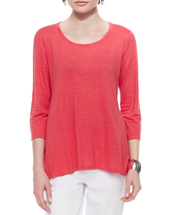 3/4-Sleeve Linen Jersey Top & Stretch Boyfriend Jeans, Petite