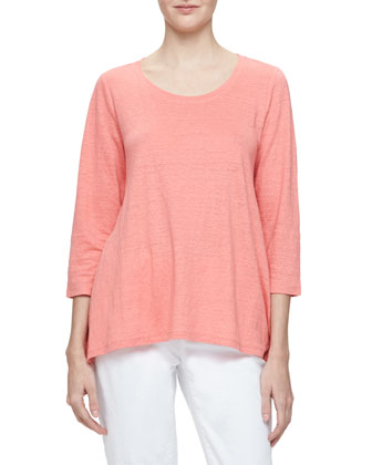 3/4-Sleeve Linen Jersey Top, Women's