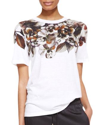 Short-Sleeve Floral-Print T-Shirt, White