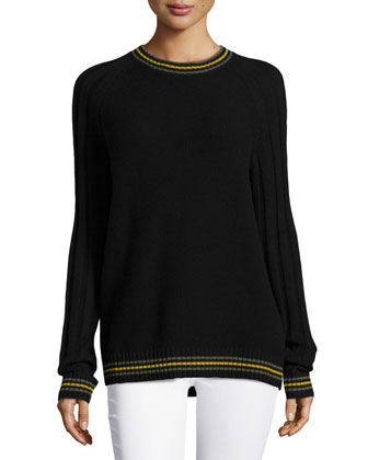 Cashmere Knit Rugby Pullover, Black/Multi