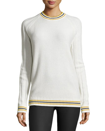 Cashmere Knit Rugby Pullover, Ivory/Multi