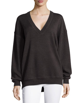 V-Neck Merino Wool Sweatshirt