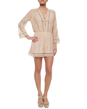 Nightmarch Vine Stretch Playsuit, Tan
