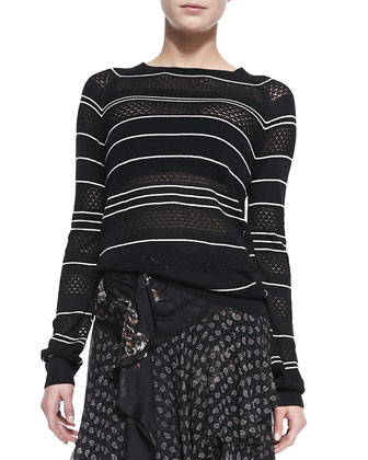 Long-Sleeve Knit Striped Silk Pullover Sweater
