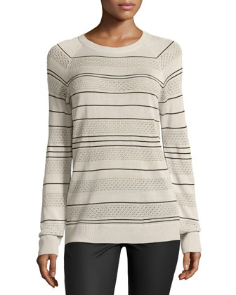 Long-Sleeve Knit Striped Silk Pullover Sweater, Ivory