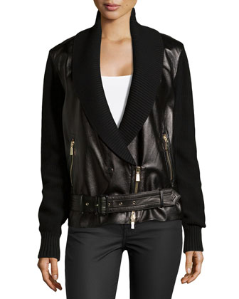 Leather Combo Moto Jacket
