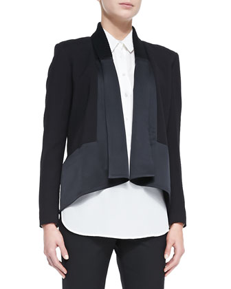 Long-Sleeve Drape-Front Cardi Jacket